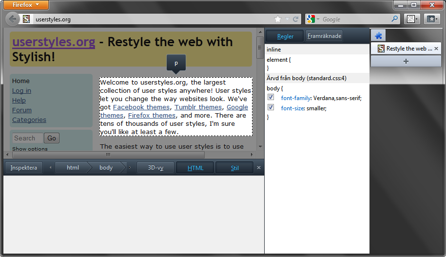 SOLVED) Move Firefox Inspector UI — forum userstyles org